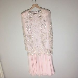 Vintage Light Pink Sequins Beaded Silk Dress
